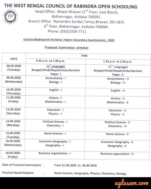 Rabindra Open Schooling HS Routine 2020