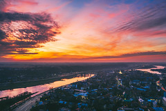 Warm winter sunset | Kaunas aerial