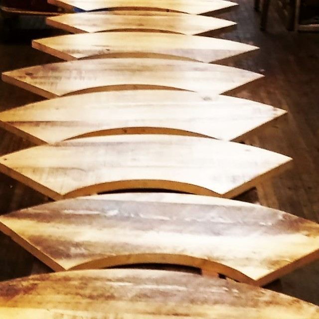 Reclaimed hemlock bar tops to be wrapped around a column at Thin Man Brewery, Chandler Street in Buffalo.