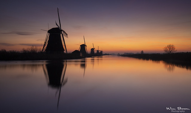 Watching Sunrise in Kinderdijk