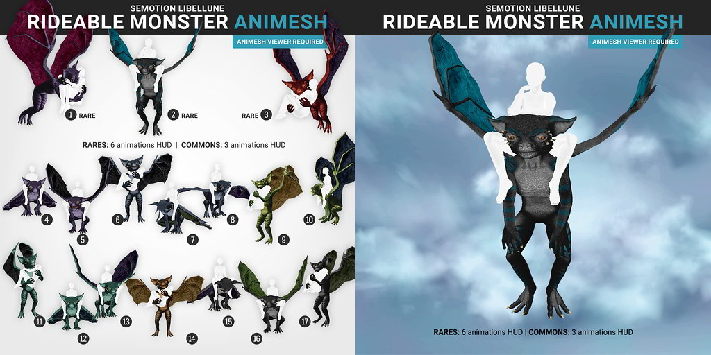 SEmotion Libellune Rideable Monster Animesh