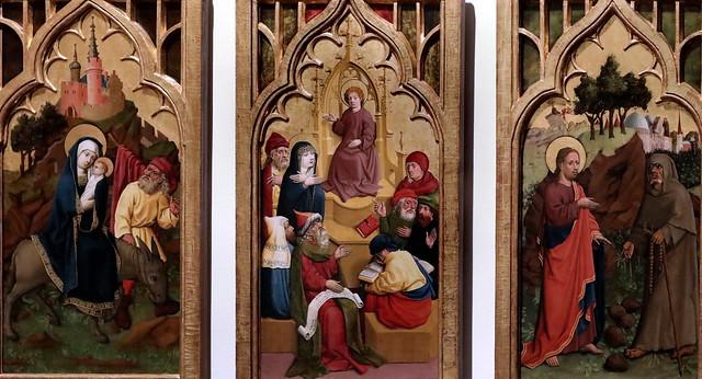 IMG_7500D Master of Lichtenstein castle Wien around 1445 L'Annonciation à Joachim: La naissance de la Vierge La présentation de la Vierge au Temple. La fuite en Égypte. Jésus de douze ans dans le Temple. La tentation du Christ The Annonciation to Joachim: