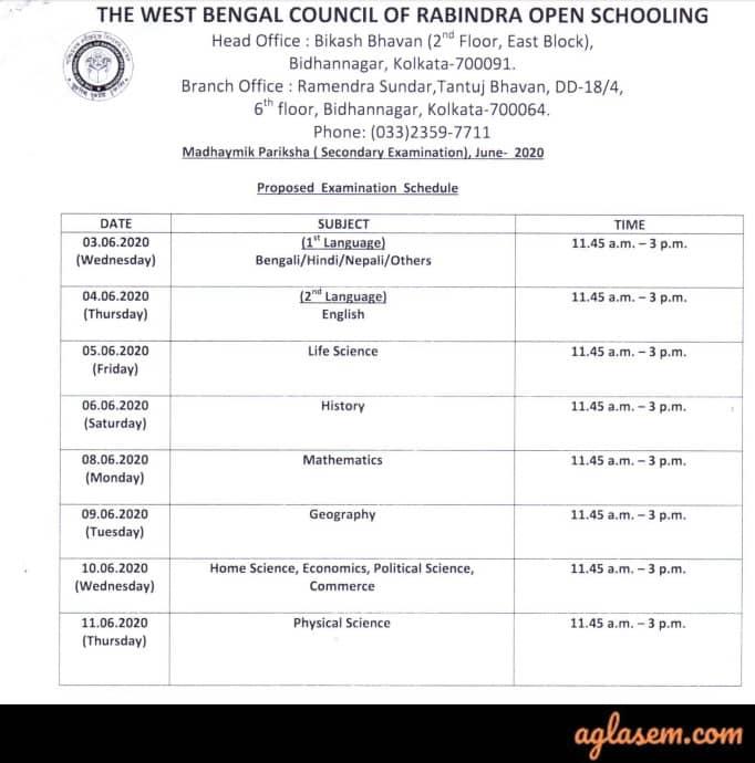 Rabindra Open Schooling Madhyamik Routine June 2020
