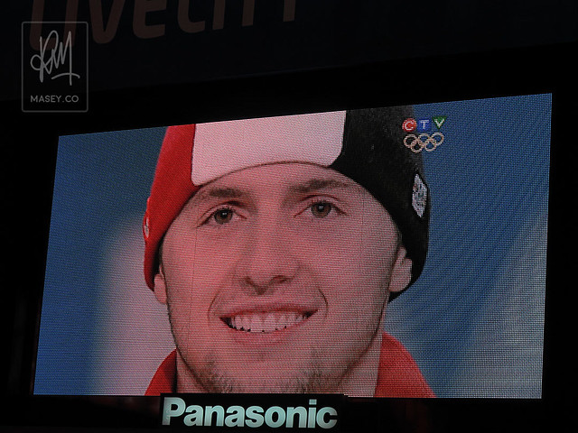 Watching Alex Bilodeau's gold medal ceremony