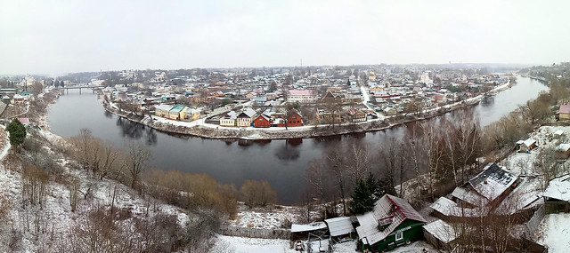 Panorama of the city from the bell tower of Boris and Gleb Monastery. Torzhok