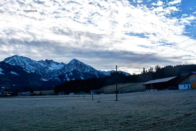 Fischen im Allgäu, morningview to the mountains