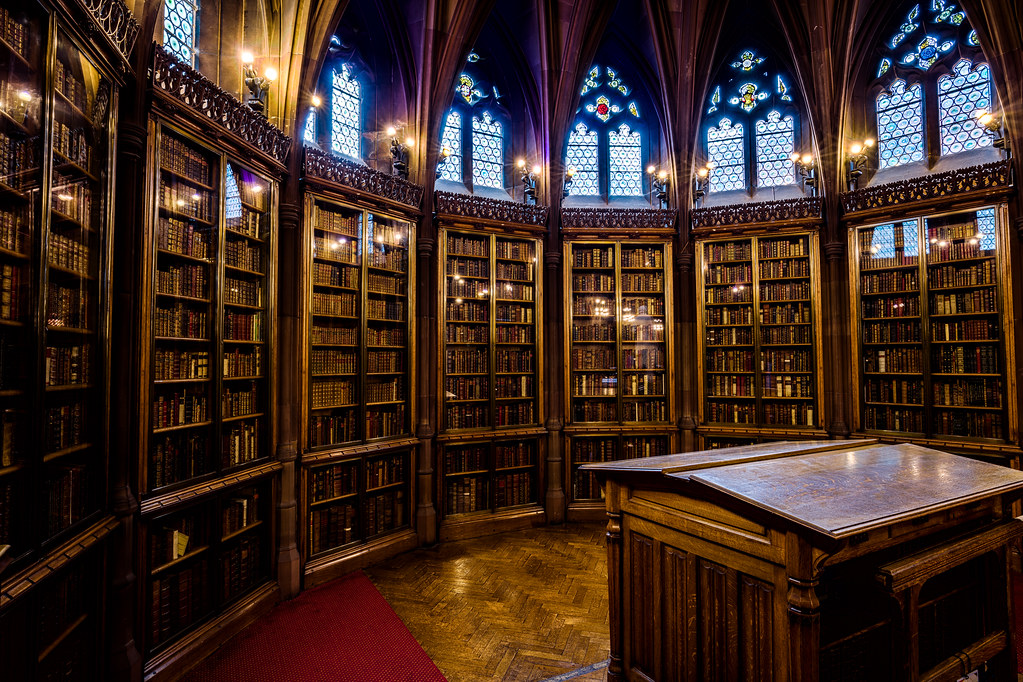 The John Rylands Library reading room enclave, England [OC][8677x5783]