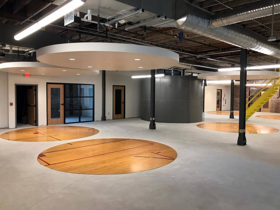 Basketball court floors at Young and Wright Architectural, Elk Street, Buffalo. The building was a  malting mill/plant.