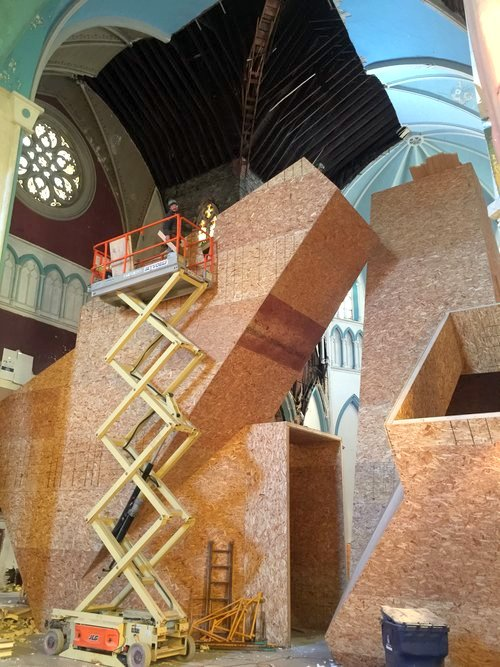 Interior Build-Out at Assembly House 150, Dennis Maher's reclaimed church building in Buffalo.