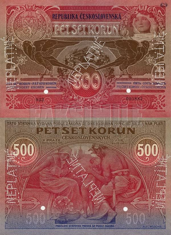 500 korún Československo 1919 NEPLATNÉ - REPLIKA