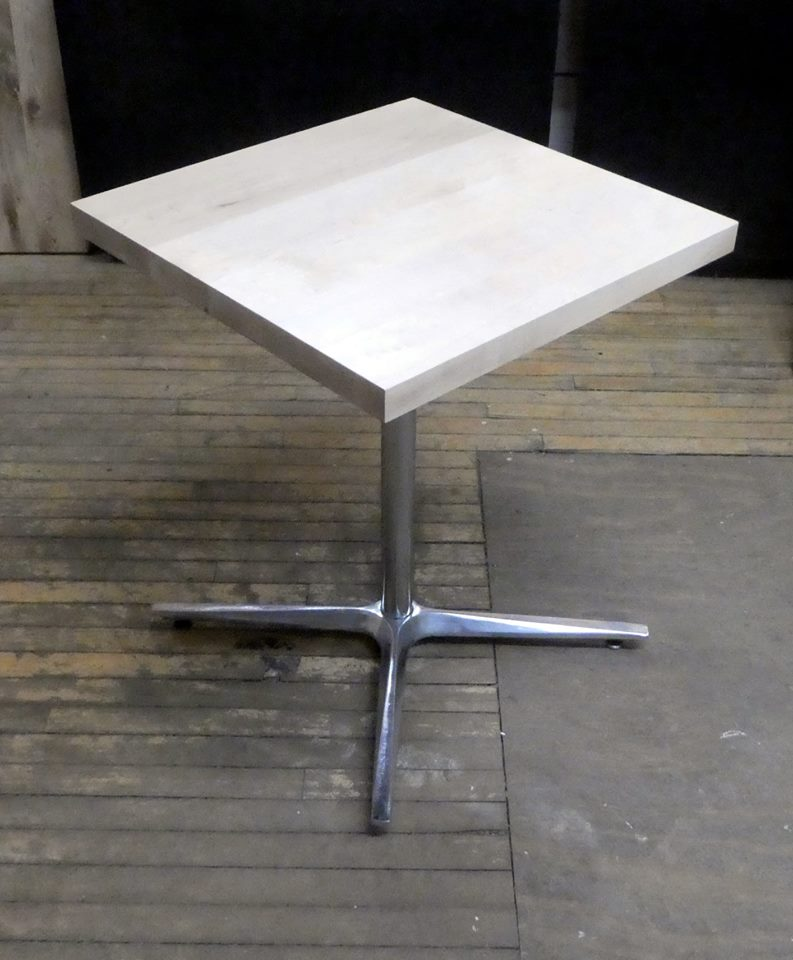 Maple table for JAM Coffee, Parkside, Buffalo. Reclaimed chromed base. New wood for top.