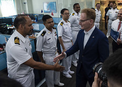 Acting Secretary of the Navy Thomas B. Modly meets with international liaison officers during a tour of the Information Fusion Centre at Changi Naval Base. (U.S. Navy/MC2 Christopher Veloicaza)