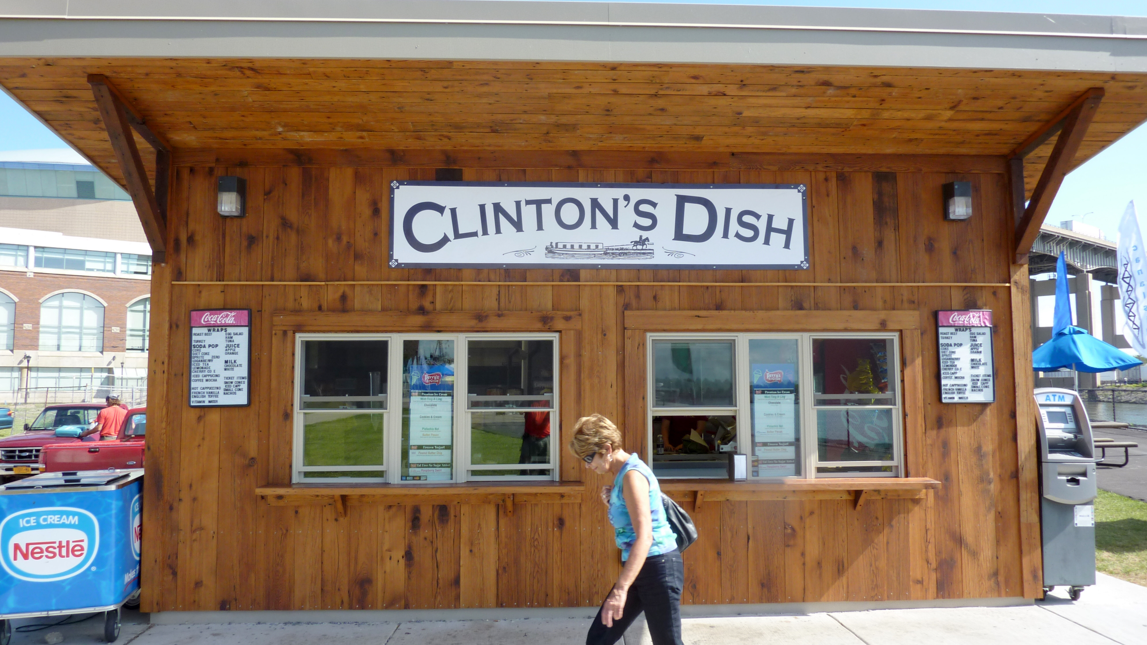 Clinton's Dish, a fast food stand at Canalside, Buffalo. Reclaimed wood siding on SIP panel construction.