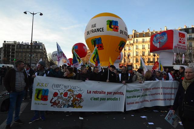 Manifestation du 16 janvier 2020 contre le projet de réforme des retraites