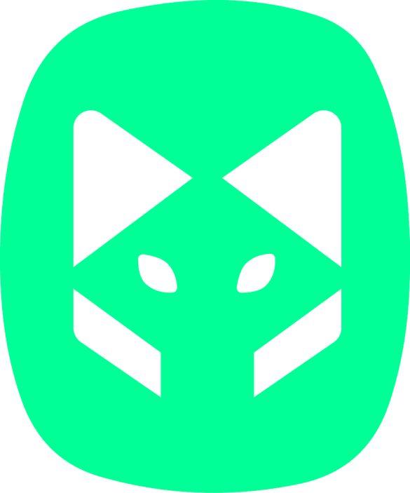 wolf beeldmerk vlak groen