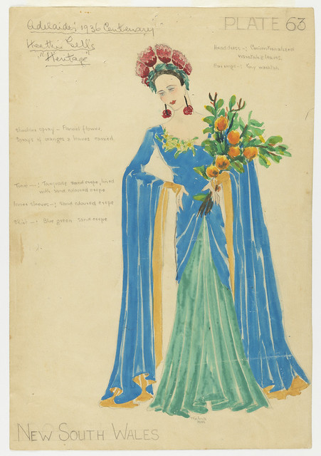 Blue costume for Adelaide's Centenary Pageant, 1936, Thelma Affor