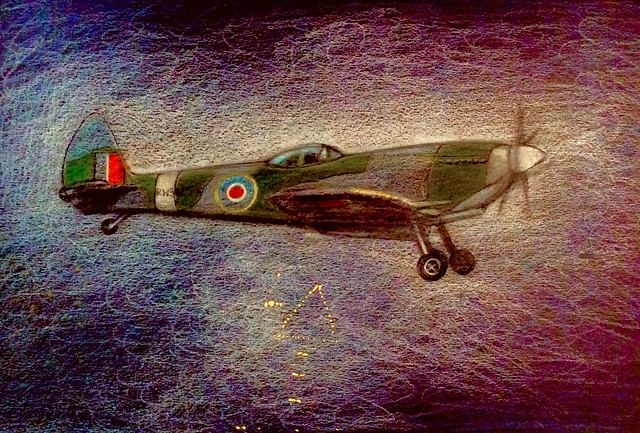 Preparing for Landing. Spitfire . Coloured pencil drawing on black card by jmsw. Last stage of 2.
