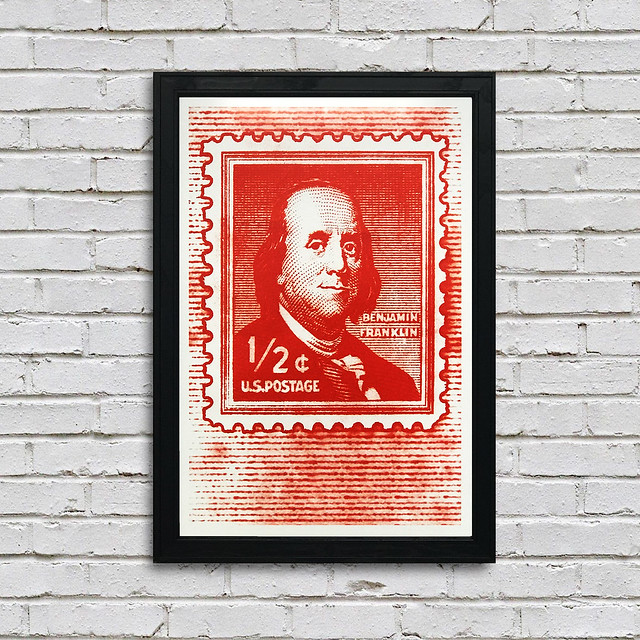 Ben Franklin US Postage Stamp Poster Art Print