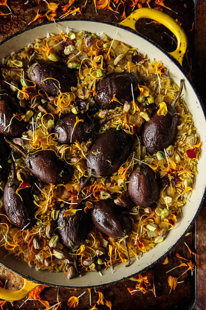 Saffron, Orange and Pistachio rice with Eggplant from HeatherChristo.com
