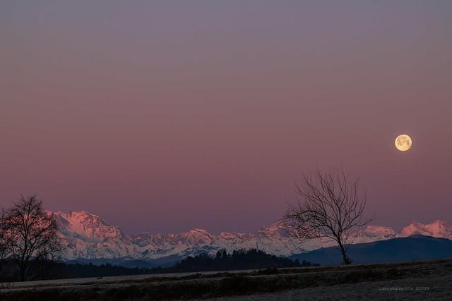 Il tramonto della luna all'alba