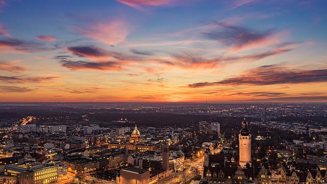 Sonnenuntergang in Leipzig