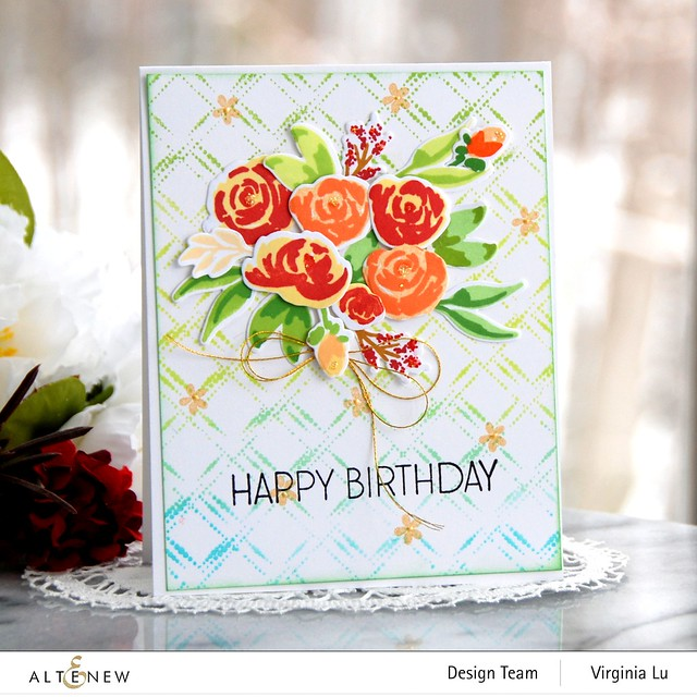 Altenew-DottedDiamonds-WatercolorBloomsStampDie-Virginia#1