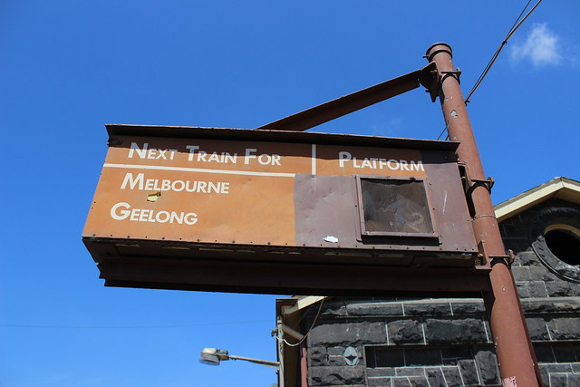 Heritage train departure sign at Little River Station