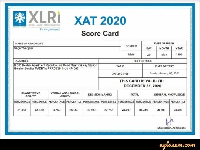 XAT 2020 scorecard