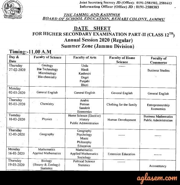 JKBOSE 12th Date Sheet 2020 Jammu Annual Regular Summer Zone