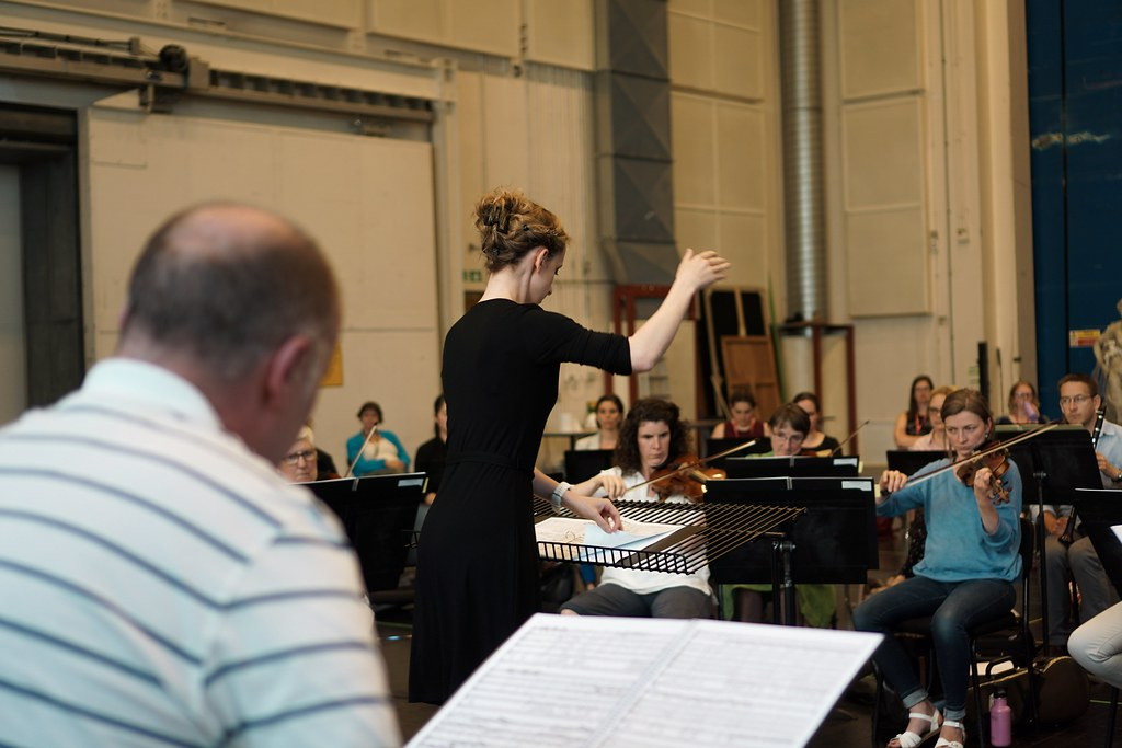 Katie de la Matter and orchestra, Women Conductor Course. Engender 2019 ©2019 ROH. Photograph by Danielle Patrick