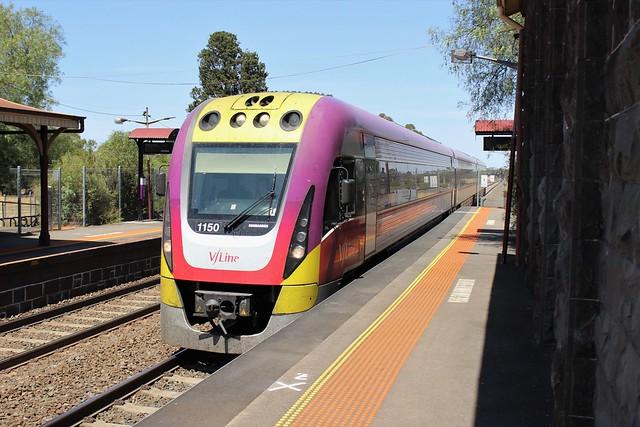 VLocity train arriving at Little River Station Platform 1
