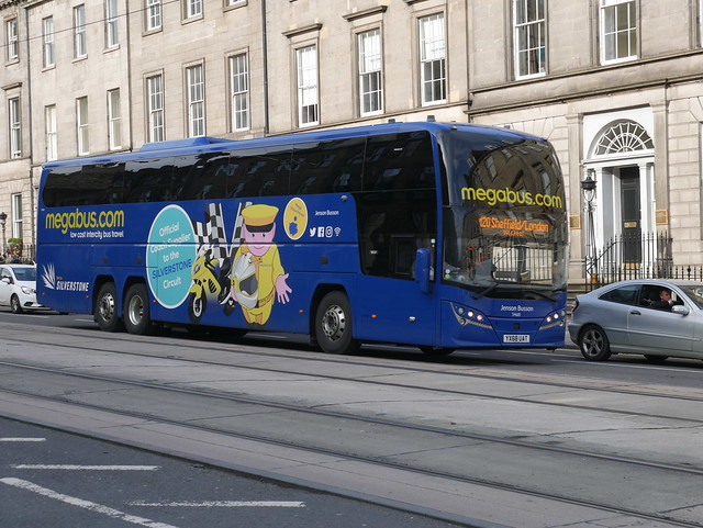 Stagecoach Midland Red South Volvo B11RT Plaxton Elite i YX68UAT 54610, in Megabus livery, at York Place prior to entering Edinburgh Bus Station on 10 October 2019 operating service M20 to Sheffield and London.