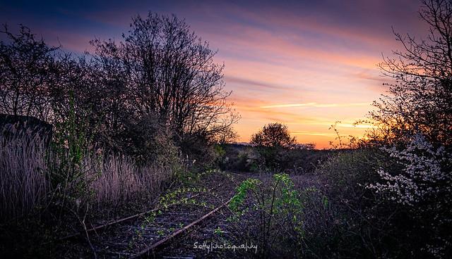 Coucher de soleil sur la voie ferrée abandonnée