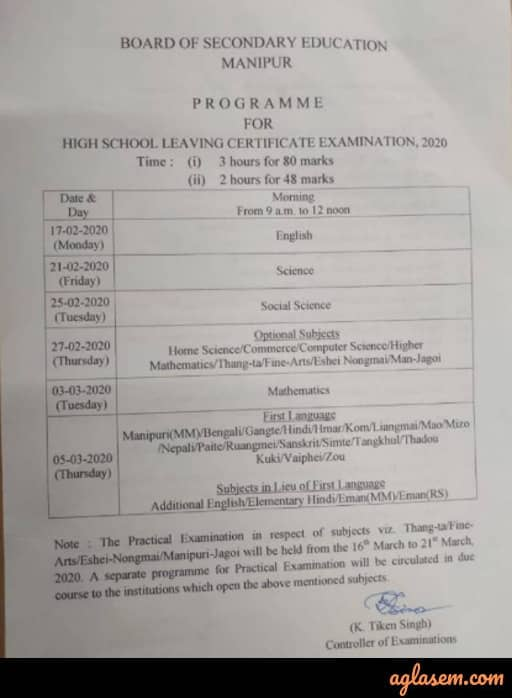 Manipur HSLC Time Table 2020