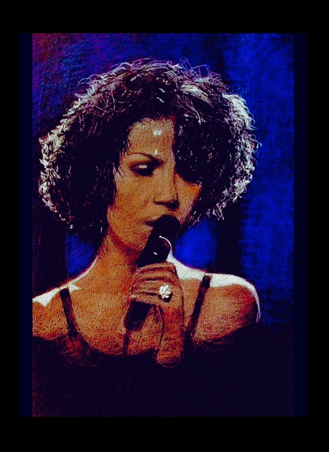 Whitney Houston. Portrait. Coloured pencil drawing on black card by jmsw. Last stage.