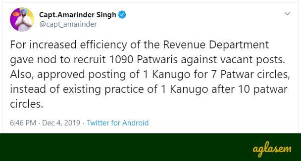 Punjab Patwari Recruitment 2020