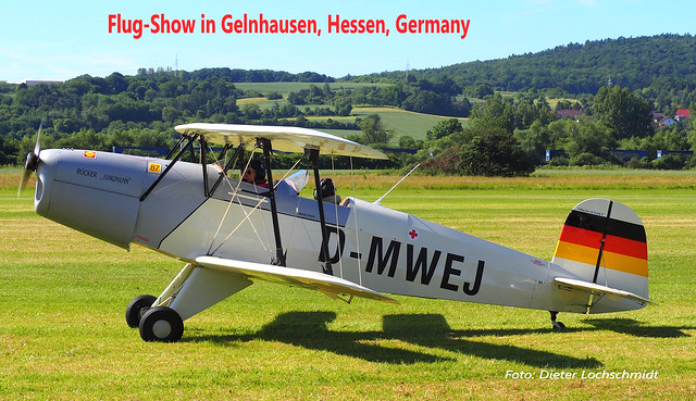 Germany: Kermis-Flight-Show in Gelnhausen in the Kinzig Valley near Frankfurt am Main - Many Thousands of Guests came to see it!!! Great Festival! Back Ground shows the Spessart Hills