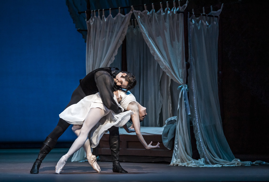 Natalia Osipova as Tatiana and Reece Clarke as Onegin in Onegin, The Royal Ballet ©2020 ROH. Photograph by Tristram Kenton