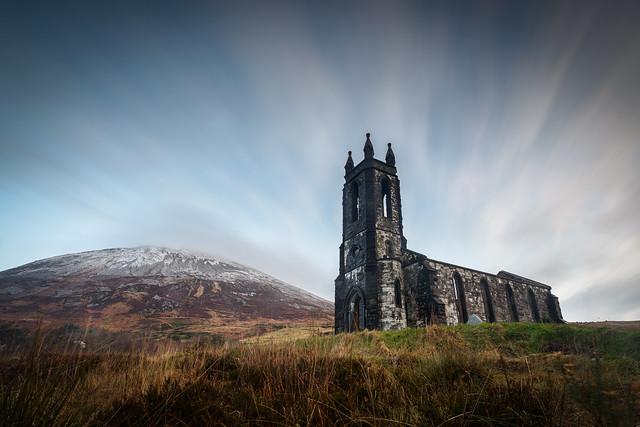 Dunlewey church and errigal snow
