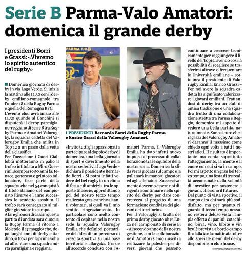 Gazzetta di Parma 17.01.20 - Derby RPFC vs Valorugby1