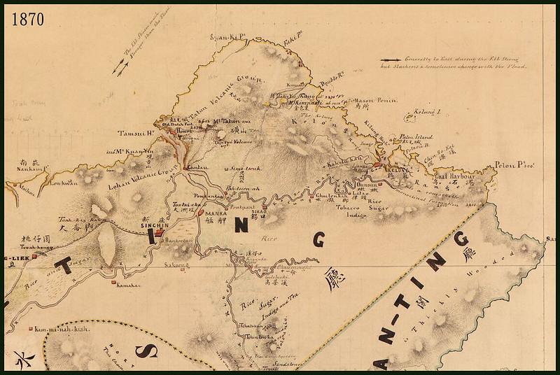 1870年 美國的福建台灣地圖 淡水廳時期的台北