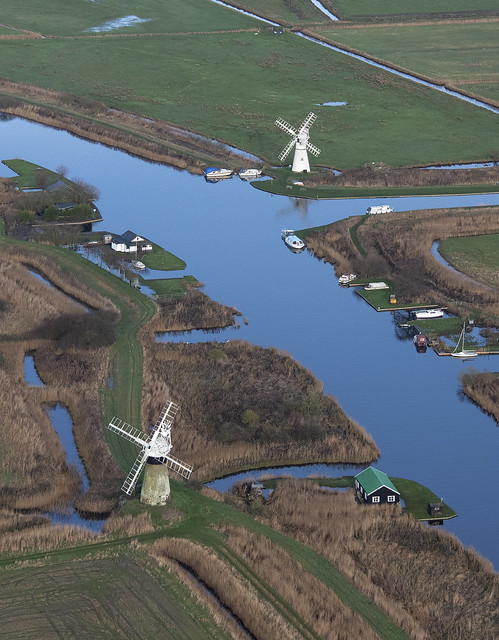 St Benets Level Drainage Mill & Thurne Mill aerial image
