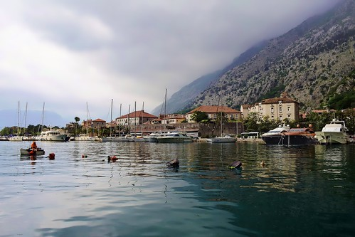 landscapes seascapes water clouds mountains cityviews boats bayofkotor kotor montenegro balkans travel