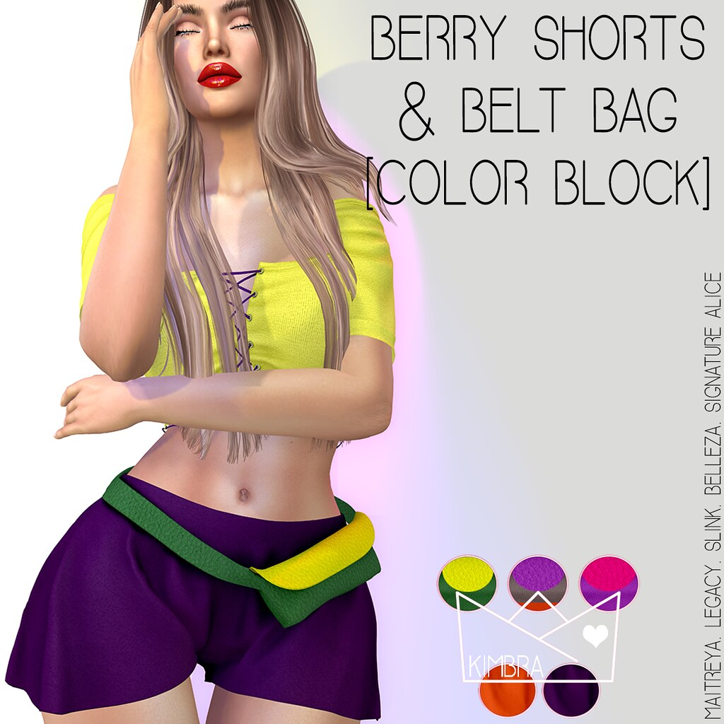 .KIMBRA. – BERRY SHORTS [COLOR BLOCK]