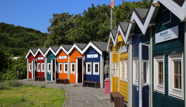 Colorful Lobster cabins at Helgoland museum