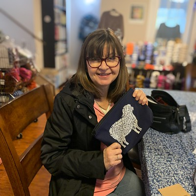 Jocelyne came in for a Turtle Dove II Kit and to pick up her draw prize - a Sheep Breeds Pouch that I ordered from Ravelry Merchandise! Perfect to use for the magic loop sock class she is taking next month.
