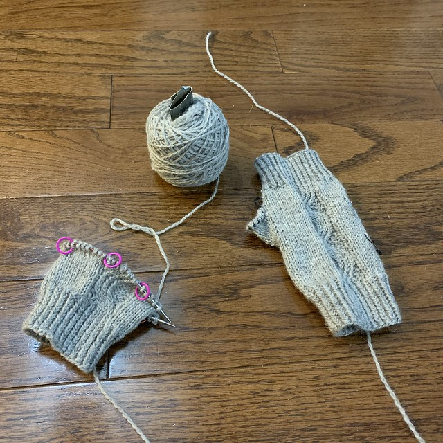 On my needles are Nalu Mitts by Leila Raven (free Ravelry Download)