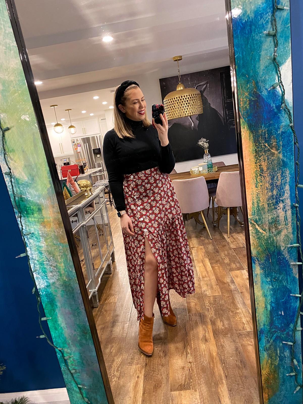 SHEIN Floral Button Split Skirt