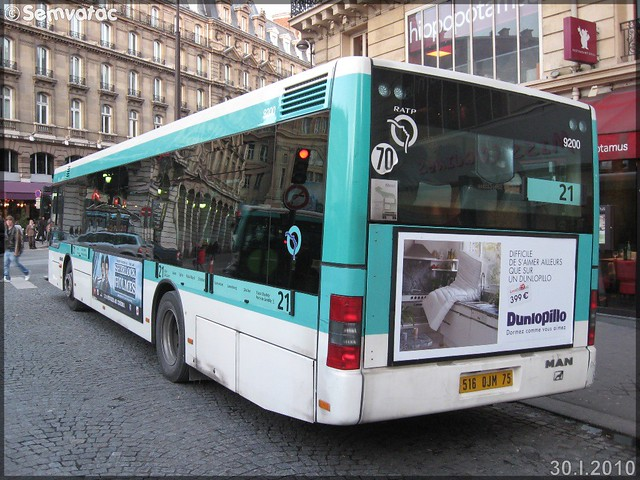 Man NL 223 – RATP (Régie Autonome des Transports Parisiens) / STIF (Syndicat des Transports d'Île-de-France) n°9200