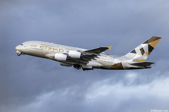 Ethiad Airbus A380, AG-APH; Heathrow Airport, London, England